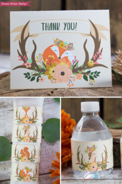Woodland animals baby shower invitation and decorations printable. w envelopes and labels. With woodland creatures like a cute fox, deer and squirrel. Woodland theme idea for girls or boys. Rustic Forest Animals baby shower. Includes woodland banner, favor tags, bottle wrappers, cupcake wrappers, favor bag, place cards, thank you note, wall decorations, favor tags, kisses labels, confetti and more. Instant download By Press Print Party!