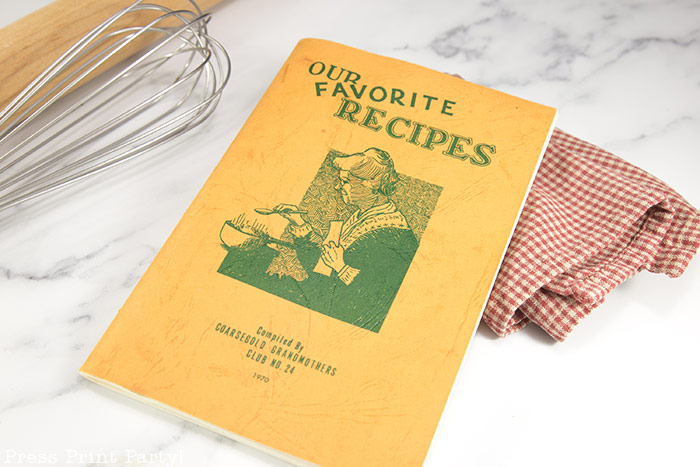 """recipe book """"our favorite recipes"""" from the grandma of coarsegold california with the old fashioned date cake with caramel sauce - from Great Grandma Press Print Party!"""
