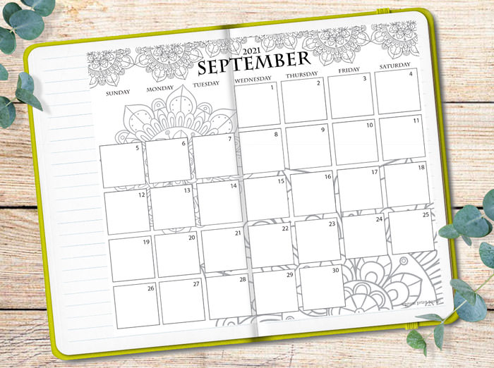 mandala calendar printable pasted on green bullet journal - Press Print Party!