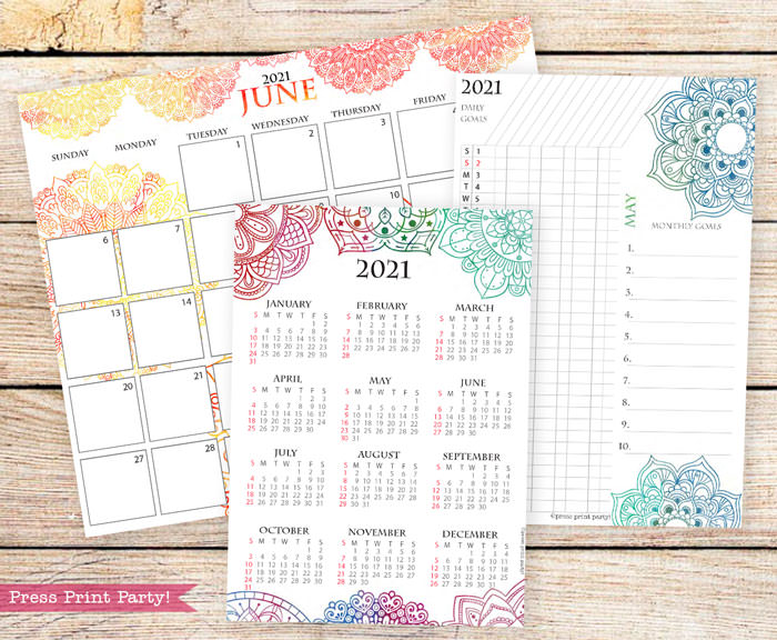 Calendar set for 2021 with monthly calendar, yearly calendar and routine tracker.Press Print Party