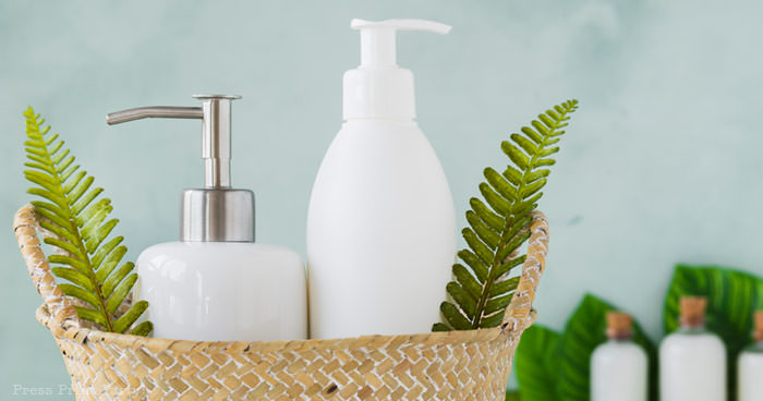 soap and lotion in basket . How to clean a bathroom for guests. How to make your bathroom guest ready. Press Print Party!