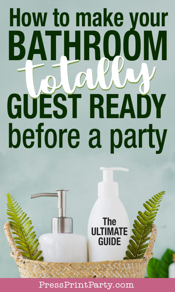 soap and lotion in basket . How to clean a bathroom for guests. How to make your bathroom totally guest ready. Press Print Party!