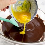 Mixing in the egg yolks -French Chocolate Truffles recipe - How to make chocolate truffles - Press Print Party!