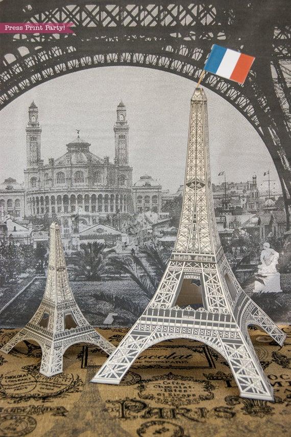 Paris party printables Eiffel tower centerpiece Press Print Party!