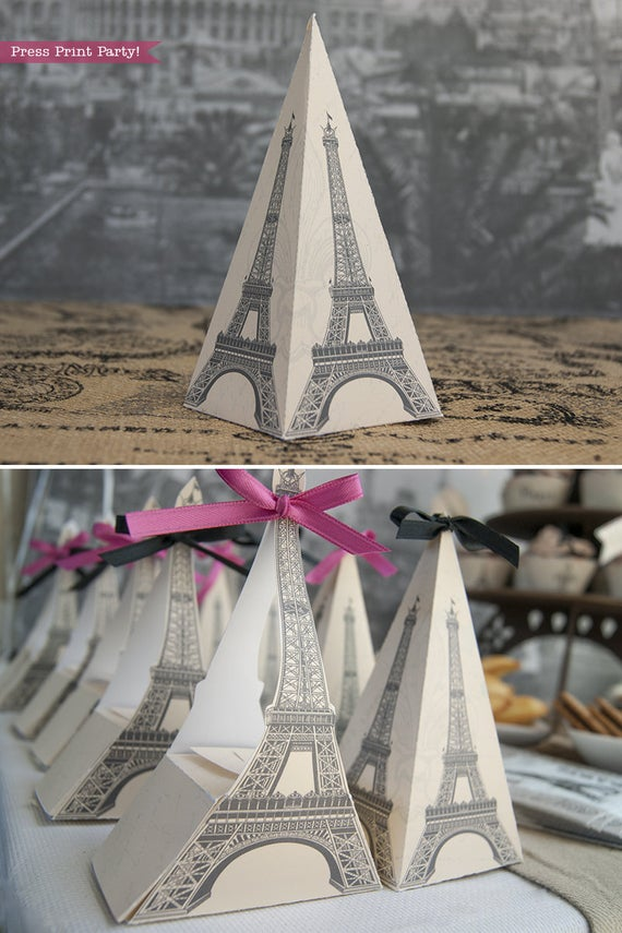 Paris party printables. Eiffel tower favor bag and boxes. Press Print Party!
