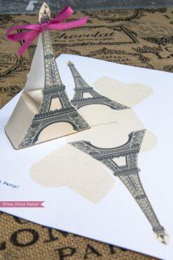 Paris party printables. Eiffel tower favor bag and boxes. Press Print Party!