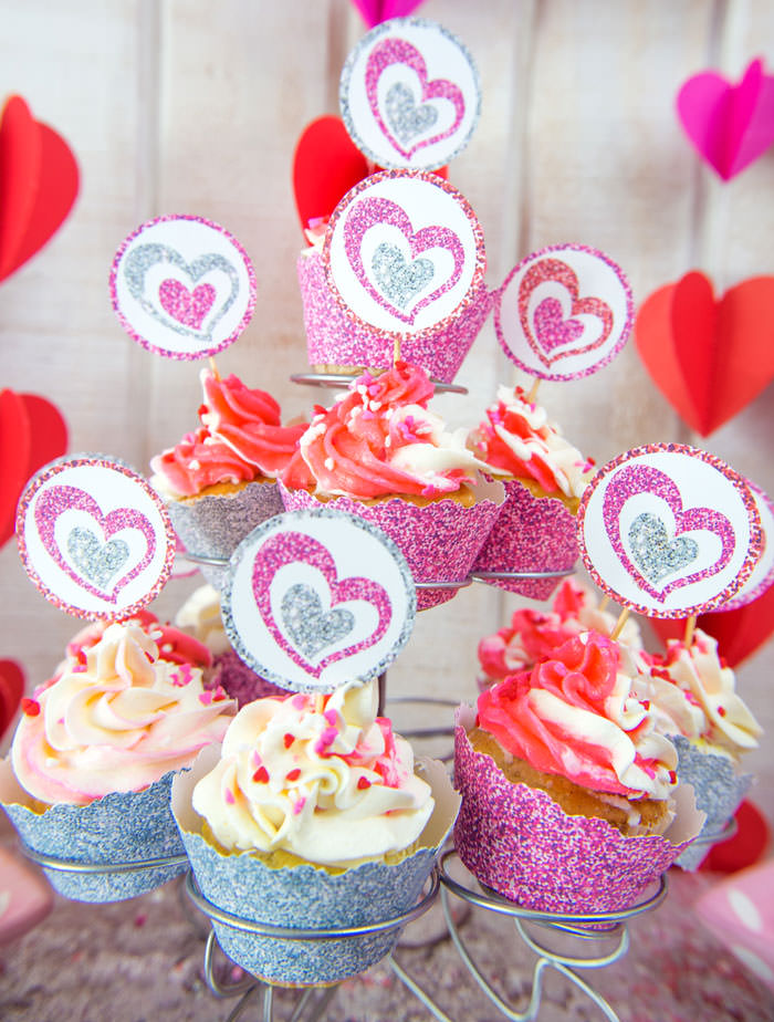 Pink and silver glitter hearts cupcake wrappers and toppers free printables - Galentine's day or Valentine's day party ideas for teen girls - Press Print Party!