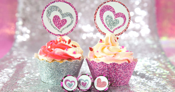 Free printables for Valentine's day Cupcake wrappers, toppers and confetti. pink and silver glitter effect by Press Print Party