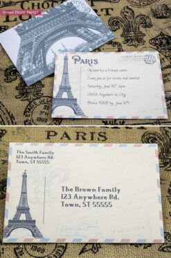 Paris party invitation fully editable. Eiffel tower postcard invitation with envelope for a vintage French party. Press Print Party!