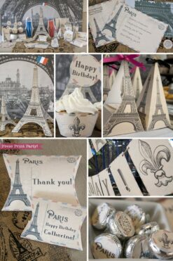 Paris Party Paris Party theme decorations desert table with paris party printables. Favor boxes, chocolate labels, invitation,Eiffel tower backdrop and centerpiece with cupcakes and french flag. Vintage French Party decorations and treats. With Paris banner and red whit and blue balloons. Press Print Party!