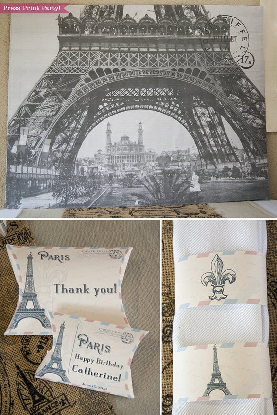 Paris party printables. Eiffel tower backdrop, favor boxes and napkin ring. with Eiffel tower and fleur de lis designs. Vintage French party. Press Print Party!