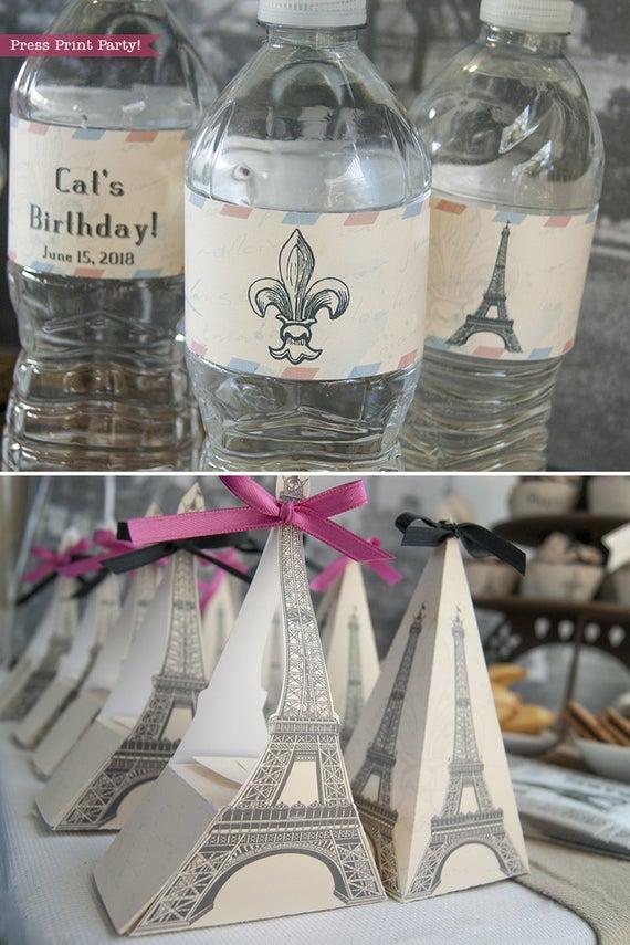Paris party printables. Water bottle labels and Eiffel tower favor boxes. Editable. Vintage French party printables. Press Print Party!