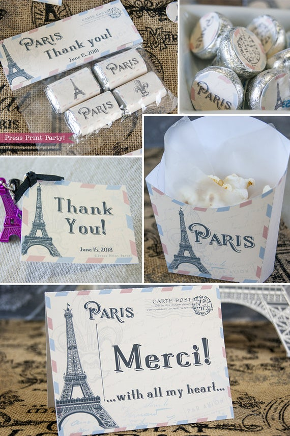 Paris party printables. Favor bag handles, chocolate labels, thank you tags, treat boxes and thank you note with Eiffel tower. Vintage French party. Press Print Party!