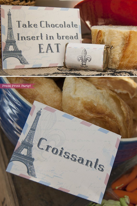 Paris party printables. Food labels with Eiffel tower. Bread and chocolate and croissants. Vintage French party printables by Press Print Party!
