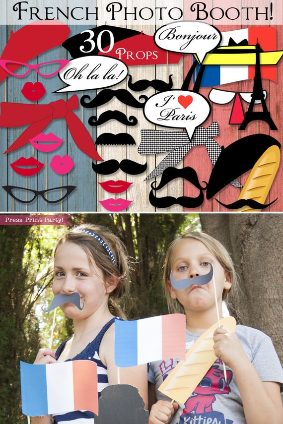 Paris photo booth props. mustaches, lips, glasses and berets. Berets, lips, mustaches, bread, scarf, little school girl hat, french flag, bubbles, Eiffel tower. Press Print Party.