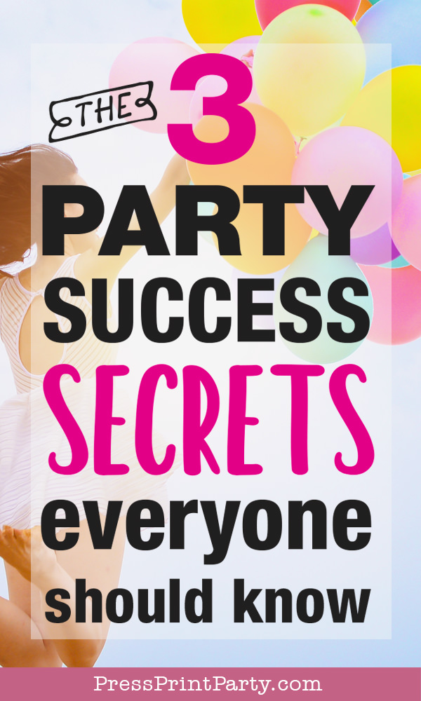 girl jumping with balloons with text. The 3 party success secrets everyone should know