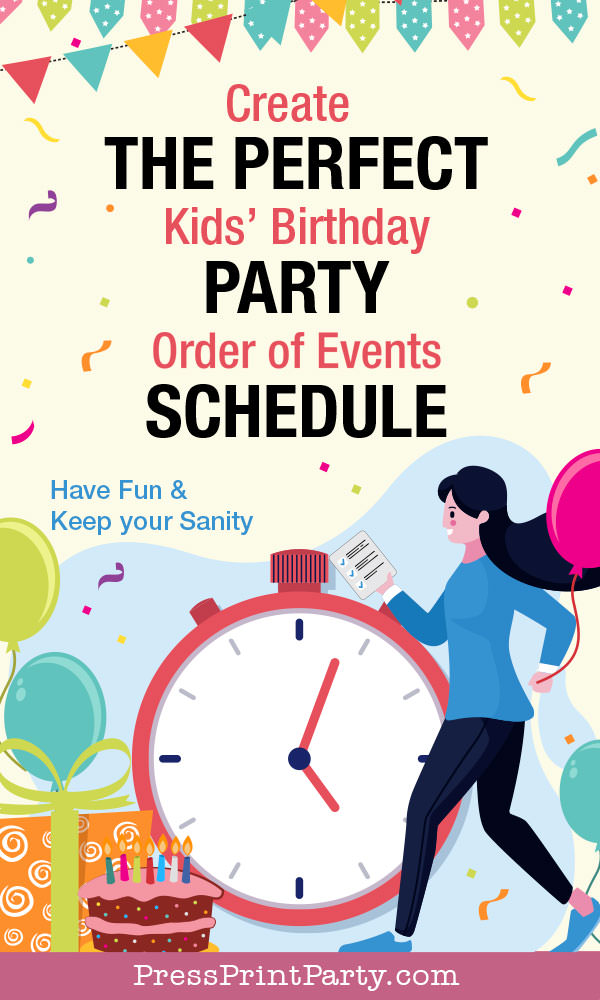 Create the perfect kids birthday party schedule for the day of the event timeline for a stress free party. order of events by Press Print Party!