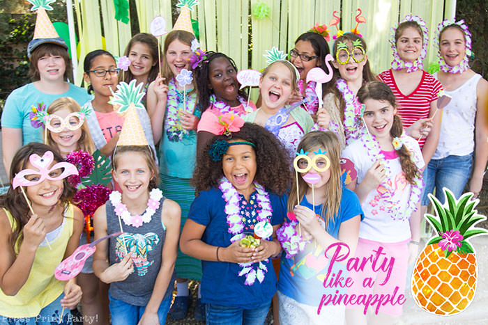 party like a pineapple birthday party group picture Press Print Party