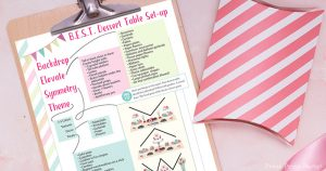Dessert Table ideas and basic set-up with free printable cheat sheet party planning decorations. Press Print Party!