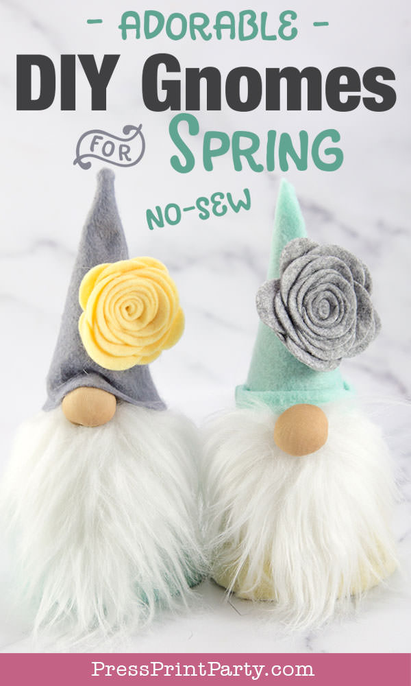 Diy gnome craft for spring no-sew craft ideas with felt flowers and, fur, cardboard cone body with hot glue gun. Press Print Party!