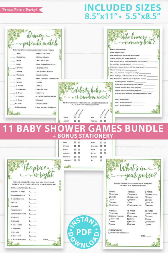 AG-41 Printable instant Greenery Baby Shower Games Eucalyptus Baby Shower Games Bundle Instant Download Baby Shower Game Shower games