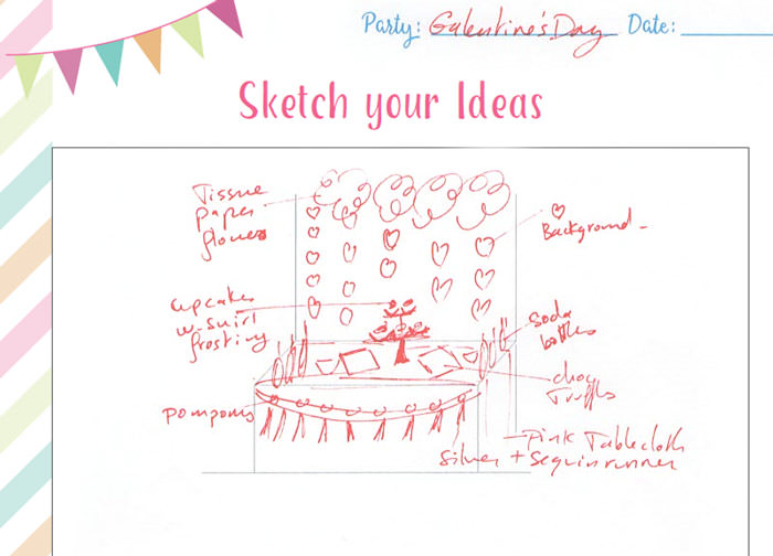 Sketch of a dessert table. Dessert Table ideas and basic set-up with free printable cheat sheet party planning decorations. Press Print Party!