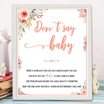 Don't Say Baby - baby shower games ideas and activities w printable template instant download by Press Print Party!