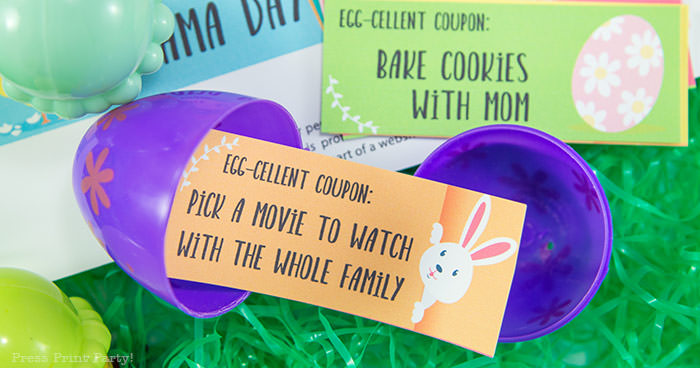 Easter egg hunt free printable coupon editable with your own text - Easter hunt ideas - Press Print Party! - Egg-cellent couppon: Pick a movie to watch for the whole family