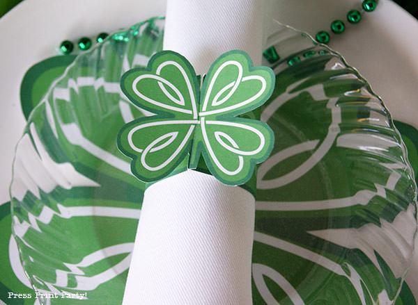 napkin ring Free St Patrick's Day Shamrock Printables by Press Print Party!