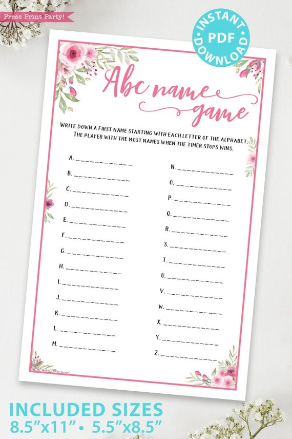 abc name game printable baby shower game pink flowers Press Print Party!