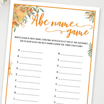 abc name game baby shower games ideas and activities w printable template instant download by Press Print Party!