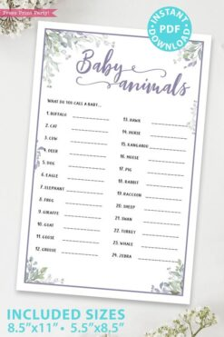Baby animals - Baby shower game printable template pdf, baby shower party ideas, instant download Press Print Party! Greenery and purple design