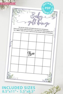 Baby Gift Bingo - Baby shower game printable template pdf, baby shower party ideas, instant download Press Print Party! Greenery and purple design