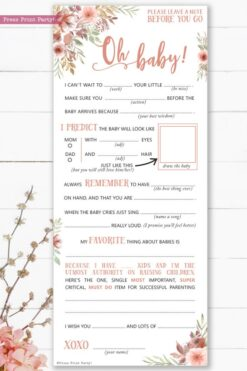 baby shower mad libs printable. Baby shower games advice card better than a guest book great activity peach flowers Oh baby Instant Download Press Print Party!