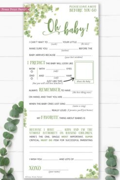 Eucalyptus baby shower mad libs printable. Baby shower games advice card better than a guest book great activity Oh baby Instant Download Press Print Party!