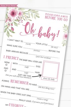 pink flowers baby shower mad libs printable. Baby shower games advice card better than a guest book great activity Oh baby Instant Download Press Print Party!