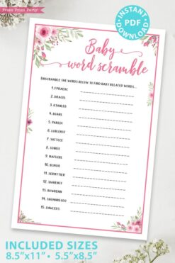 baby word scramble game printable baby shower game pink flowers Press Print Party!