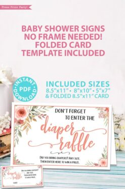Diaper raffle sign Printable baby shower game Peach flowers, instant download pdf Press Print Party!