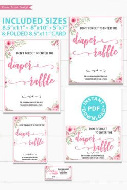 diaper raffle tickets and sign printable baby shower game pink flowers Press Print Party!