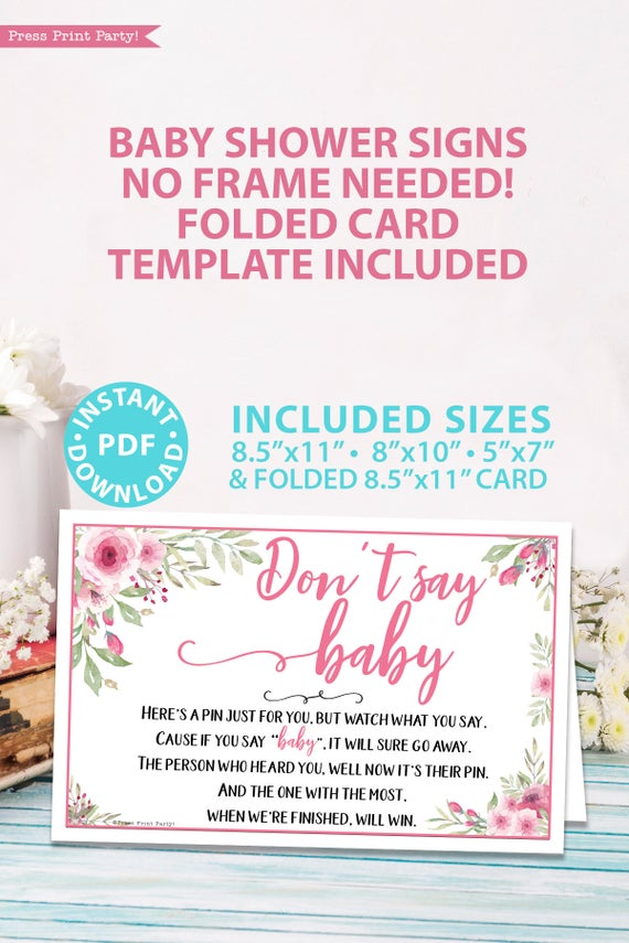 Don't say baby sign printable baby shower game pink flowers Press Print Party!