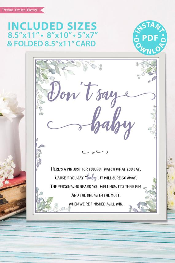 Don't say baby - Baby shower game printable template pdf, baby shower party ideas, instant download Press Print Party! Greenery and purple design