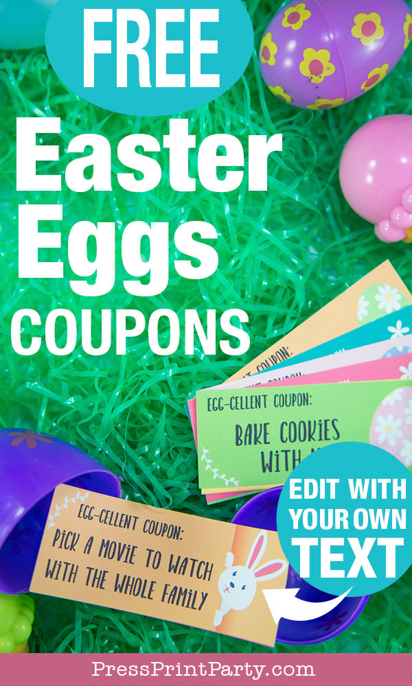 Easter egg hunt free printable coupon editable with your own text - Easter hunt ideas - Press Print Party! -