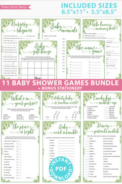 eucalyptus 11 baby shower games bundle oh baby baby shower games bundle - what is purse, nursery rhymes, mom questionnaire, disney parent match, celebrity baby, candy bar match up, baby word scramble, gift bingo, baby animals, abc name game.Press Print Party!
