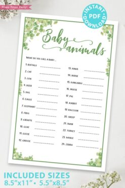 baby animals Baby shower game printable template pdf instant download Press Print Party! Eucalyptus design