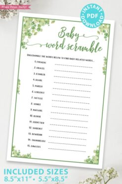 baby word scramble Baby shower game printable template pdf instant download Press Print Party! Eucalyptus design
