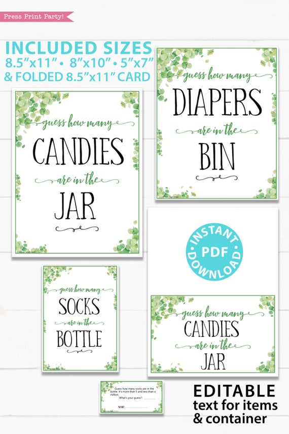 Guess how many sign editable customizable Baby shower game printable template pdf instant download Press Print Party! Eucalyptus design