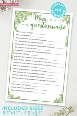 mom questionnaire Baby shower game printable template pdf instant download Press Print Party! Eucalyptus design