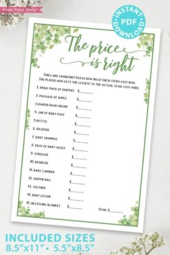 The price is right Baby shower game printable template pdf instant download Press Print Party! Eucalyptus design