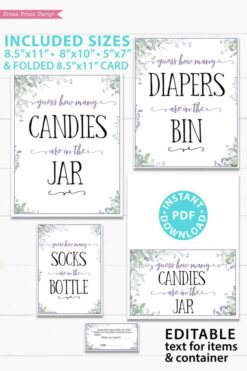 How many candies are in the Jar sign and tickets cards - Baby shower game printable template pdf, baby shower party ideas, instant download Press Print Party! Greenery and purple design