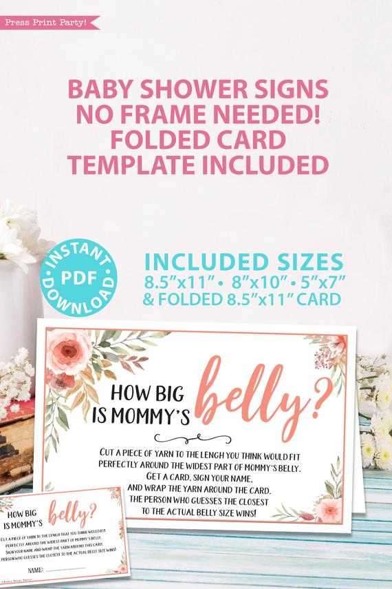 How big is mommy's belly game sign Printable baby shower game Peach flowers, instant download pdf Press Print Party!
